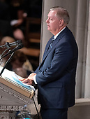 United States Senator Lindsey Graham (Republican of South Carolina) reads a passage at the funeral service for the late US Senator John S. McCain, III (Republican of Arizona) at the Washington National Cathedral in Washington, DC on Saturday, September 1, 2018.<br /> Credit: Ron Sachs / CNP<br /> <br /> (RESTRICTION: NO New York or New Jersey Newspapers or newspapers within a 75 mile radius of New York City)
