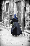A women in traditional costume in Scanno, situated in the Sagittario Valley and encircled by the Majella mountains, Abruzzo, Italy