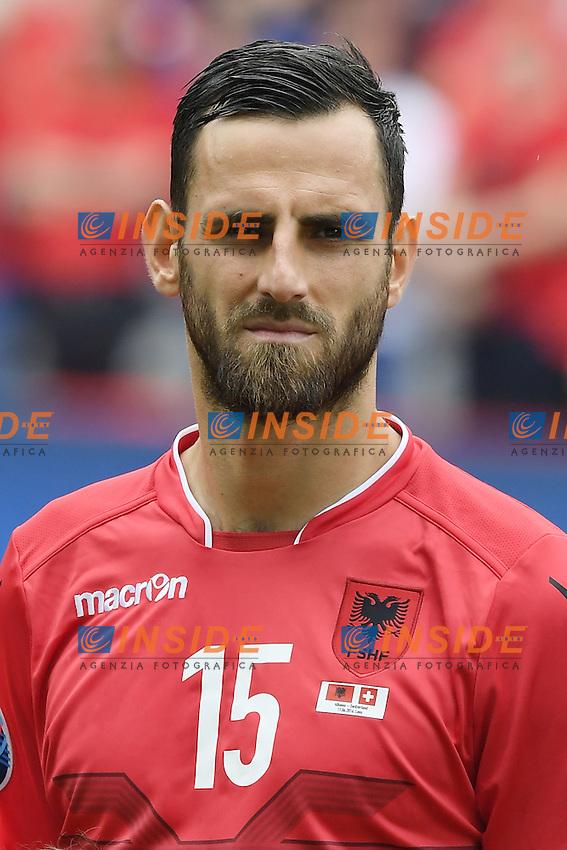 \Lens 11-06-2016 Stade Bollaert-Delelis Football  - Euro 2016 / Albania - Switzerland / foto Matteo Gribaudi/Image Sport/Insidefoto<br /> nella foto: Mergim Mavraj