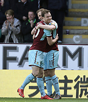 Burnley's Chris Wood's (No.11) celebrates scoring the opening goal with team-mate Ashley Barnes <br /> <br /> Photographer Rich Linley/CameraSport<br /> <br /> The Premier League - Burnley v Leicester City - Saturday 14th April 2018 - Turf Moor - Burnley<br /> <br /> World Copyright &copy; 2018 CameraSport. All rights reserved. 43 Linden Ave. Countesthorpe. Leicester. England. LE8 5PG - Tel: +44 (0) 116 277 4147 - admin@camerasport.com - www.camerasport.com