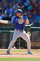 Gavin Lux (9) of the Los Angeles Dodgers at bat during a Cactus League Spring Training game against the Texas Rangers on March 8, 2020 at Surprise Stadium in Surprise, Arizona. Rangers defeated the Dodgers 9-8. (Tracy Proffitt/Four Seam Images)