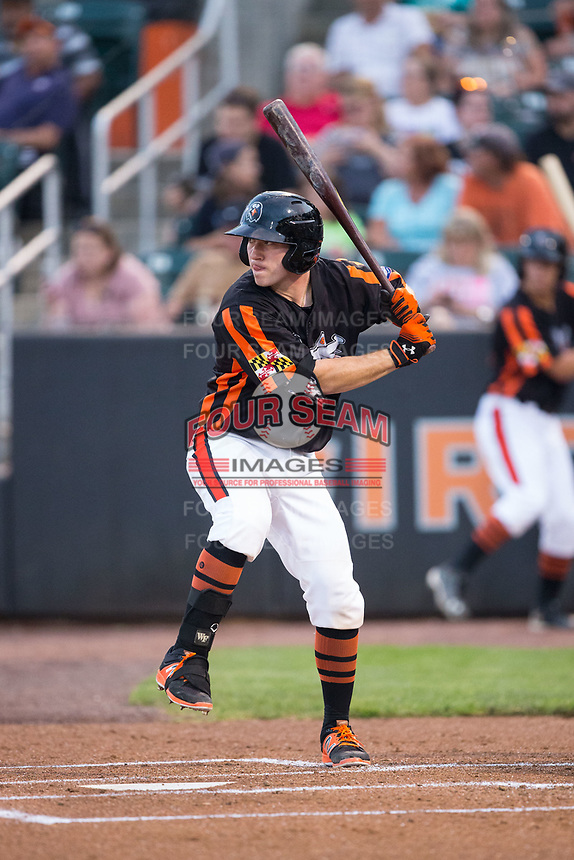 Ben Breazeale (39) of the Aberdeen IronBirds at bat against the Hudson Valley Renegades at Leidos Field at Ripken Stadium on July 27, 2017 in Aberdeen, Maryland.  The IronBirds defeated the Renegades 3-0 in game two of a double-header.  (Brian Westerholt/Four Seam Images)