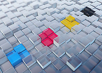 CMYK colored cubes standing out in a row from uneven surface pattern