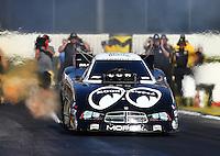 Feb 12, 2016; Pomona, CA, USA; NHRA funny car driver John Hale during qualifying for the Winternationals at Auto Club Raceway at Pomona. Mandatory Credit: Mark J. Rebilas-USA TODAY Sports