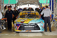 The car of David Ragan, (#55) in inspection.