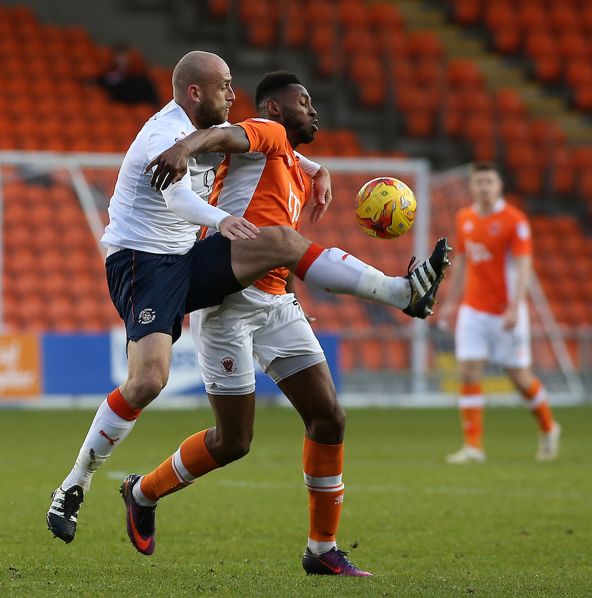 Luton Town's Scott Cuthbert battles with Blackpool's Jamille Matt<br /> <br /> Photographer David Shipman/CameraSport<br /> <br /> The EFL Sky Bet League Two - Blackpool v Luton Town - Saturday 17th December 2016 - Bloomfield Road - Blackpool<br /> <br /> World Copyright &copy; 2016 CameraSport. All rights reserved. 43 Linden Ave. Countesthorpe. Leicester. England. LE8 5PG - Tel: +44 (0) 116 277 4147 - admin@camerasport.com - www.camerasport.com