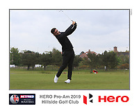 Callum Farr (AM) playing with Marcus Kinhult (SWE) on the 10th tee during the Pro-Am of the Betfred British Masters 2019 at Hillside Golf Club, Southport, Lancashire, England. 08/05/19<br /> <br /> Picture: Thos Caffrey / Golffile<br /> <br /> All photos usage must carry mandatory copyright credit (© Golffile | Thos Caffrey)