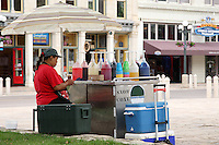 Street vendor selling snow cones, in downtown San Antonio.