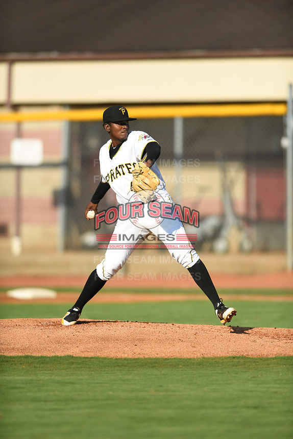 Bristol Pirates starting pitcher Jose Maldonado (45) in action against the Pulaski Yankees at Boyce Cox Field on July 8, 2019 in Bristol, Virginia. The Yankees defeated the Pirates 5-0. (Tracy Proffitt/Four Seam Images)