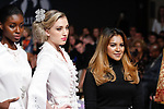 Mayalsian fashion designer Sara Jamaludin poses on runway with models at the close her Sara Jamaludin collection fashion show for Couture Fashion Week Spring 2018 at the Crowne Plaza Times Square in Manhattan, on September 8, 2017; during New York Fashion Week.