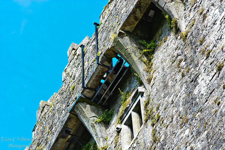 Looking up under the area to kiss the Blarney Stone