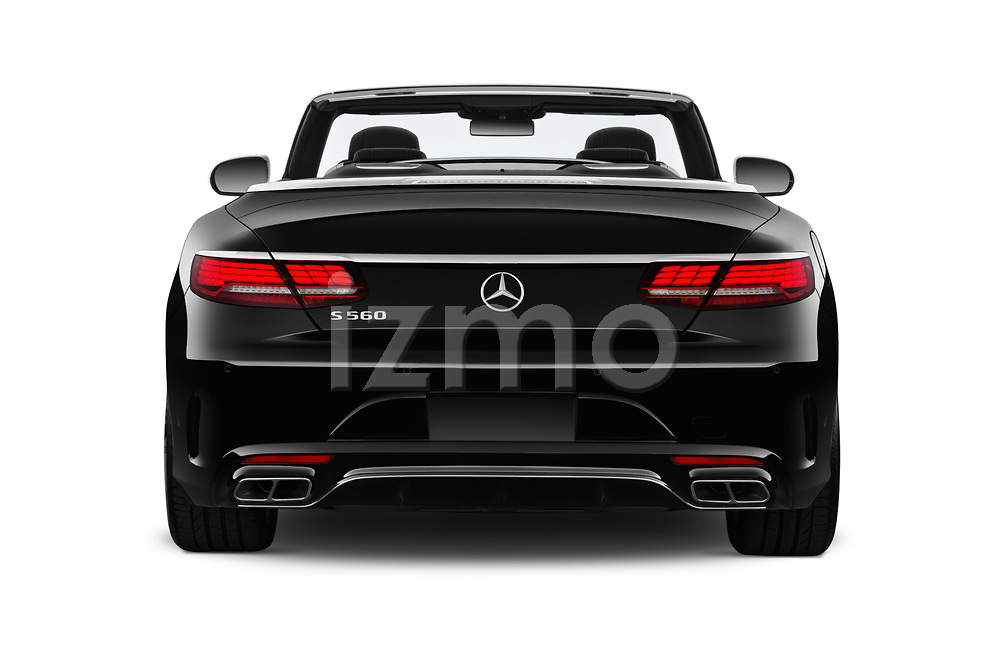 Straight rear view of 2019 Mercedes Benz S-Class S-560 2 Door Convertible Rear View  stock images