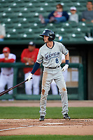 West Michigan Whitecaps center fielder Danny Woodrow (8) at bat during a game against the Peoria Chiefs on May 8, 2017 at Dozer Park in Peoria, Illinois.  West Michigan defeated Peoria 7-2.  (Mike Janes/Four Seam Images)