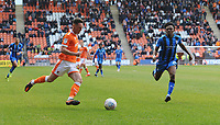 Blackpool's Jordan Thompson under pressure from Gillingham's Regan Charles-Cook<br /> <br /> Photographer Kevin Barnes/CameraSport<br /> <br /> The EFL Sky Bet League One - Blackpool v Gillingham - Saturday 4th May 2019 - Bloomfield Road - Blackpool<br /> <br /> World Copyright © 2019 CameraSport. All rights reserved. 43 Linden Ave. Countesthorpe. Leicester. England. LE8 5PG - Tel: +44 (0) 116 277 4147 - admin@camerasport.com - www.camerasport.com