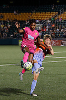 Rochester, NY - Saturday Aug. 27, 2016: Taylor Smith, Rebecca Moros during a regular season National Women's Soccer League (NWSL) match between the Western New York Flash and the Houston Dash at Rochester Rhinos Stadium.