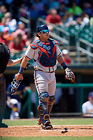 Mississippi Braves catcher Armando Araiza (24) during a game against the Montgomery Biscuits on April 25, 2017 at Montgomery Riverwalk Stadium in Montgomery, Alabama.  Mississippi defeated Montgomery 3-2.  (Mike Janes/Four Seam Images)