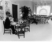 United States President Ronald Reagan eats lunch in the Residence Living Room at the White House in Washington, DC on November 18, 1981.