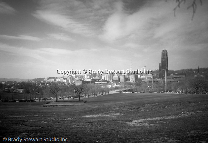 Pittsburgh PA:  University of Pittsburgh's Cathedral of Learning, Forbes Field and Phipps Conservatory from Schenley Park - 1962