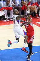 02/22/15 Los Angeles, CA: Los Angeles Clippers guard Jamal Crawford #11 and Houston Rockets guard Jason Terry #31 in action  during an NBA game played at Staples Center.