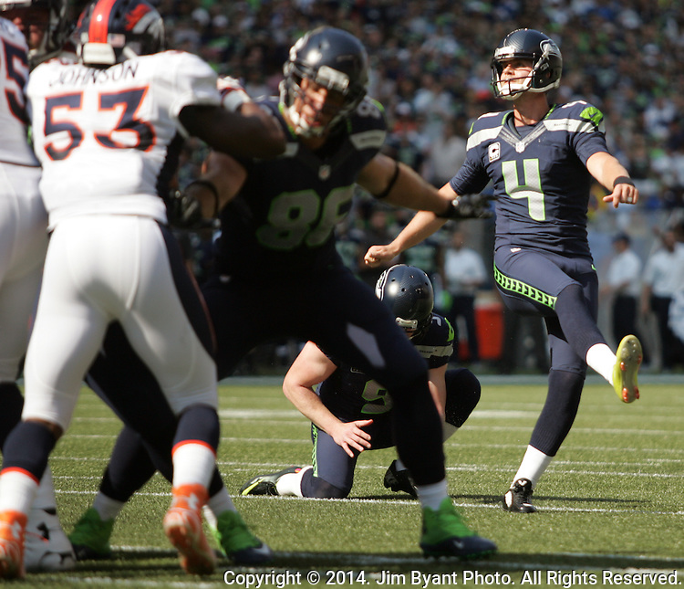 Seattle Seahawks  kicker Steven Hauschka  (4) nails a 20-yard field goal against the Denver Broncos in the first quarter at CenturyLink Field in Seattle, Washington on September 21, 2014. The Seahawks won 26-20 in overtime.    ©2014. Jim Bryant Photo. All rights Reserved.