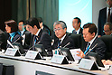 (L-R) Mikako Kotani,  Shinzo Abe, Tsunekazu Takeda, Naoki Inose, MARCH 4, 2013 : General view before presentations of Tokyo 2020 bid Committee at Palace Hotel, Tokyo, Japan. (Photo by AFLO SPORT)