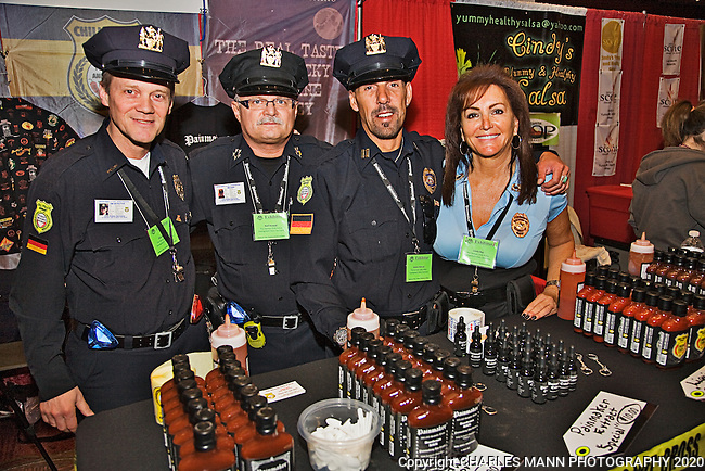 The 23rd Annual National Fiery Foods & Barbeque Show was held at the Sandia Pueblo Casino in March of 2011 and drew vendors and visitors from as far away as Michigan, California and Germany. The German Chile Police - Klaus Lorenz, Ralf, Andre and Linda of HOT MOMAS - came all the way from Sindelfingen, Germany
