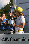 7 September 2008:     Camilo Villegas kisses the J.K. Wadley trophy after winning  the BMW Golf Championship at Bellerive Country Club in Town & Country, Missouri, a suburb of St. Louis, Missouri on Sunday September 7, 2008. The BMW Championship is the third event of the PGA's  Fed Ex Cup Tour.
