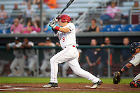 Auburn Doubledays third baseman Paul Panaccione (9) at bat during a game against the Tri-City ValleyCats on August 25, 2016 at Falcon Park in Auburn, New York.  Tri-City defeated Auburn 4-3.  (Mike Janes/Four Seam Images)