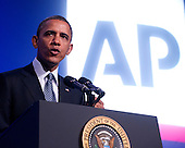 United States President Barack Obama delivers remarks at the Associated Press luncheon during the American Society of News Editors (ASNE) Convention at the Washington Marriott Wardman Park Hotel in Washington, D.C. on Tuesday, April 3, 2012.  In his remarks the President criticized the Republican budget proposals..Credit: Ron Sachs / Pool via CNP