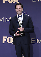 LOS ANGELES - SEPTEMBER 22:  Bill Hader with the award for Outstanding Lead Actor in a Comedy Series at the 71st Primetime Emmy Awards at the Microsoft Theatre on September 22, 2019 in Los Angeles, California. (Photo by Xavier Collin/Fox/PictureGroup)