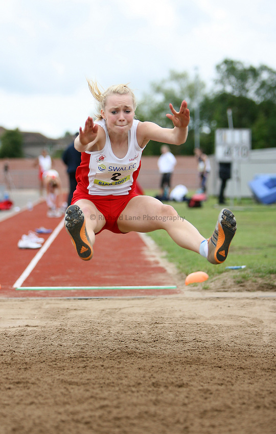 Photo: Rich Eaton...Schools International Athletic Board, Track & Field International Match, Newport. 21/07/2007. Alice Lennox of England competes in the girls long jump.