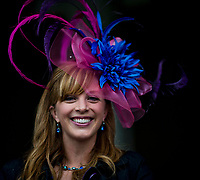 LOUISVILLE, KENTUCKY - MAY 04: A fan shows off her fancy hat during Thurby at Churchill Downs on May 4, 2017 in Louisville, Kentucky. (Photo by Scott Serio/Eclipse Sportswire/Getty Images)