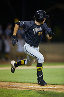 Gunner Peterson (38) (Illinois State University) of the Wilson Tobs hustles down the first base line against the High Point-Thomasville HiToms at Finch Field on July 17, 2020 in Thomasville, NC. The Tobs defeated the HiToms 2-1. (Brian Westerholt/Four Seam Images)