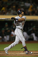 OAKLAND, CA - SEPTEMBER 6:  Victor Reyes #22 of the Detroit Tigers bats against the Oakland Athletics during the game at the Oakland Coliseum on Friday, September 6, 2019 in Oakland, California. (Photo by Brad Mangin)