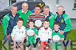 Padraig Casey, Caseys Tyres, Killorglin, pictured as he presented gear to the U6's, U8's and U10's in Listry GAa on Friday evening. Pictured with  him are Darragh Murphy, Jack O'Leary, Darragh O'Donoghue, Joseph Clifford, Tom Cronin, Jerome Kennedy, John Lehane and Murt Broderick....... ..........................