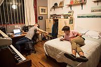Lucas and Oliver Ortega Smith in Lucas room. Family at the progreso apartment, Escandon, Mexico City, Mexico