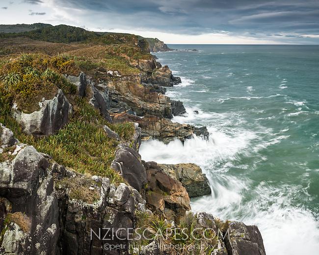 Moods of wild, rugged and remote coastline near Charleston near Westport, West Coast, Buller Region, New Zealand, NZ