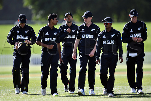17th January 2018, Hagley Oval, Christchurch, New Zealand; Under 19 Cricket World Cup, New Zealand versus Kenya;  New Zealand team walk back after their victory over Kenya by 243 runs