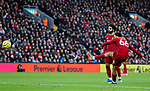 Trent Alexander-Arnold of Liverpool shoots from a free kick during the Premier League match at Anfield, Liverpool. Picture date: 1st February 2020. Picture credit should read: James Wilson/Sportimage
