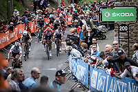 Diego Ulissi (ITA/UAE) making his move for 3th place against among others Jelle Vanendert (BEL/lotto Soudal), Michal Kwiatkowski (POL/Team Sky), Romain Bardet (FRA/AG2R La Mondiale)<br /> <br /> 83th Flèche Wallonne 2019 (1.UWT)<br /> 1 Day Race: Ans – Huy 195km<br /> <br /> ©kramon