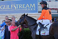 HALLANDALE BEACH, FL - JULY 01:  #2 Imperial Hint (FL)  wth jockey Javier Castellano in the winner's circle after winning the Smile Sprint Handicap G3 Stakes at Gulfstream Park on July 01, 2017 in Hallandale Beach, Florida. (Photo by Liz Lamont/Eclipse Sportswire/Getty Images)