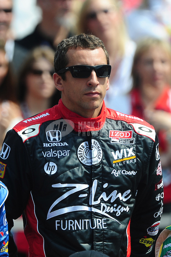 May 29, 2011; Indianapolis, IN, USA; Indy Car Series driver Justin Wilson during the 95th running of the Indianapolis 500 at the Indianapolis Motor Speedway. Mandatory Credit: Mark J. Rebilas-