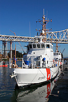 The United States Coast Guard 87 Foot Marine Protector Class Patrol Boat 'Pike' docked at the Yerba Buena Island Coast Guard Station in San Francisco Bay. The Pike was commissioned on January 23rd, 2006, and its crew conducts search and rescue, law enforcement, and Homeland Security in the San Francisco Bay, the Sacramento River Delta, and offshore. Photographed 10/07