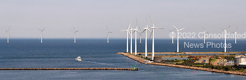 Copenhagen, Denmark - August 10, 2009 -- Windmills, used to generate clean electricity, line the harbor in Copenhagen, Denmark on Monday, August 10. 2009..Credit: Ron Sachs / CNP