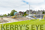 The scoreboard end of Fitzgerald Stadium being cleared by construction workers on Wednesday