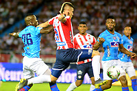 BARRANQUILLA - COLOMBIA, 27-03-2019: Michael Rangel de Atlético Junior disputa el balón con Yulián Gómez de Unión Magdalena, durante partido adelantado de la fecha 13 entre Atlético Junior y Unión Magdalena, por la Liga Águila I 2019, jugado en el estadio Metropolitano Roberto Meléndez de la ciudad de Barranquilla. / Michael Rangel of Atletico Junior vies for the ball with Yulian Gomez of Union Magdalena, during match ahead of date 13th between Atletico Junior and Union Magdalena, for the Aguila Leguaje I 2019 at the Metropolitano Roberto Melendez Stadium in Barranquilla city, Photo: VizzorImage  / Alfonso Cervantes / Cont.