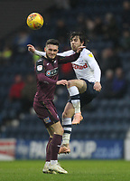 Preston North End's Ben Pearson battles with  Swansea City's Jose Alberto Canas<br /> <br /> Photographer Mick Walker/CameraSport<br /> <br /> The EFL Sky Bet Championship - Preston North End v Swansea City - Saturday 12th January 2019 - Deepdale Stadium - Preston<br /> <br /> World Copyright © 2019 CameraSport. All rights reserved. 43 Linden Ave. Countesthorpe. Leicester. England. LE8 5PG - Tel: +44 (0) 116 277 4147 - admin@camerasport.com - www.camerasport.com