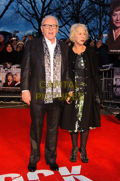 Sir Anthony Hopkins and Dame Helen Mirren.'Hitchcock' Film Premiere at the BFI Southbank, London, England..December 9th, 2012.full length black coat jacket green white floral print dress gloves grey gray paisley print scarf glasses    .CAP/CJ.©Chris Joseph/Capital Pictures.