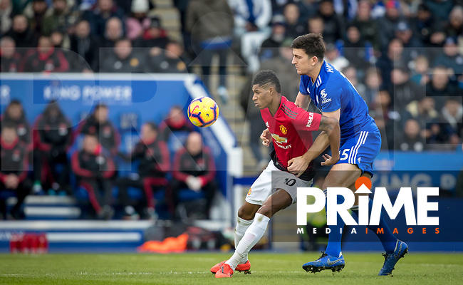 Marcus Rashford of Man Utd & Harry Maguire of Leicester City during the Premier League match between Leicester City and Manchester United at the King Power Stadium, Leicester, England on 3 February 2019. Photo by Andy Rowland.