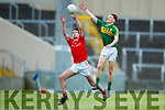 Michael Potts Kerry in action against Ben Mooney Louth in the All Ireland Minor Football Quarter Finals at O'Moore Park, Portlaoise on Saturday.